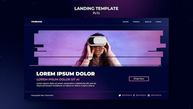 Landing page virtual reality template