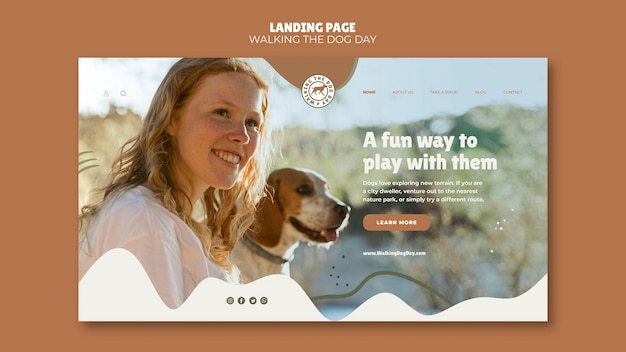 Landing page walking the dog day template