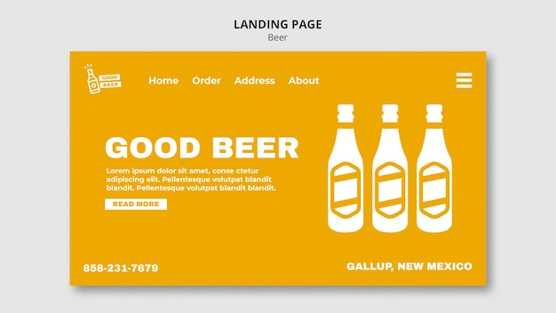 Landing page web template for beer