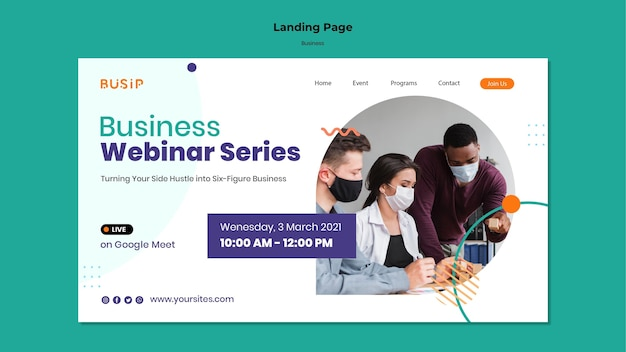 Landing page for webinar and business startup
