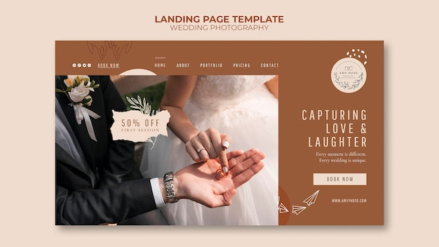 Landing page for wedding photography service