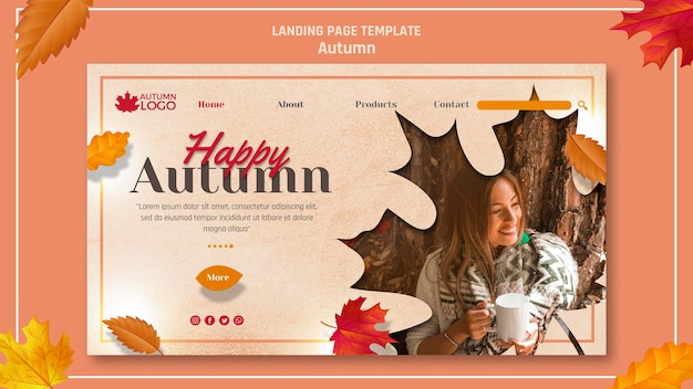 Landing page for welcoming autumn season
