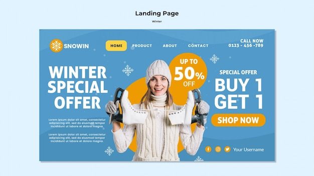 Landing page winter family time template