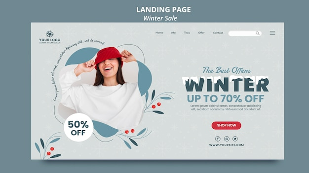 Landing page for winter sale