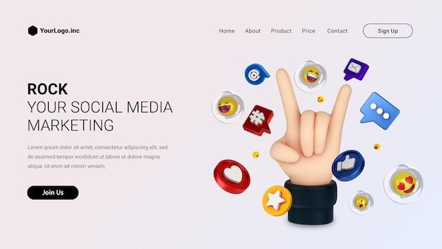 만화 손과 소셜 미디어 로고가있는 랜딩 페이지 렌더링