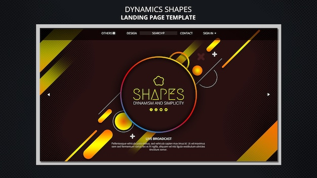 Landing page with dynamic geometric neon shapes