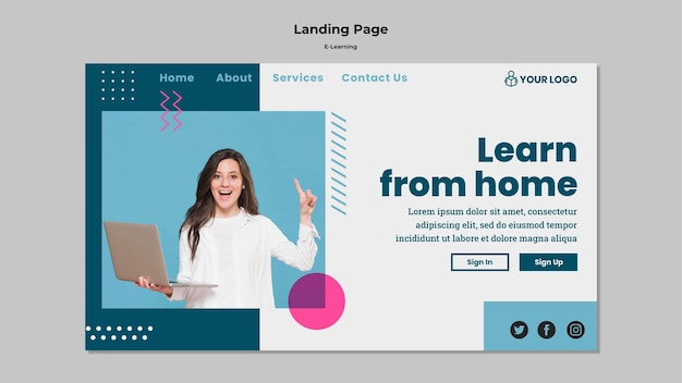 Landing page with e-learning