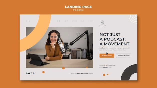 Landing page with female podcaster and microphone