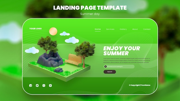 Целевая страница с дизайном сада с объектами 3d-рендеринга Premium Psd