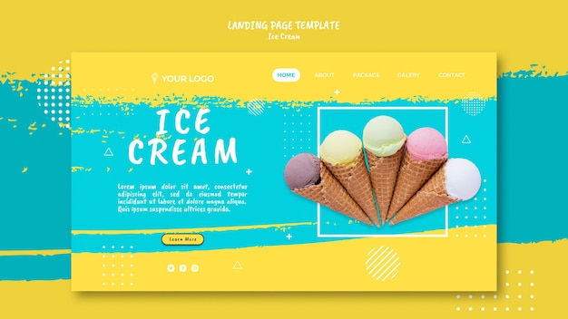 Landing page with ice cream