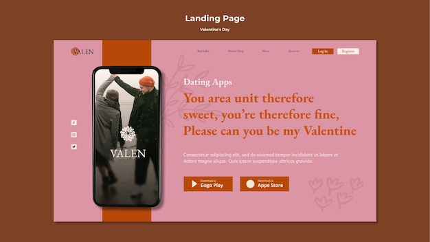 Landing page with romantic couple