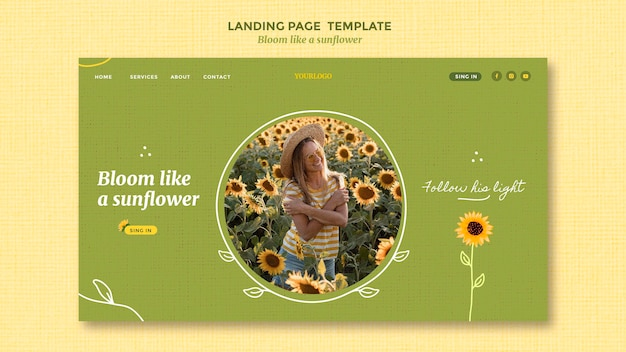 Landing page with sunflowers and woman