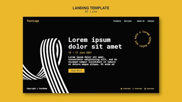 Landing page with three-dimensional lines