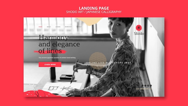 Landing page with woman practicing japanese shodo art