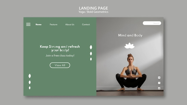 Landing page with woman practicing yoga