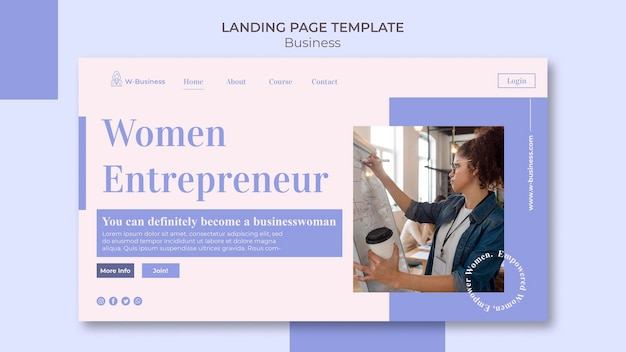 Landing page for women in business