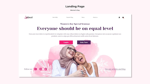 Landing page for women's day celebration