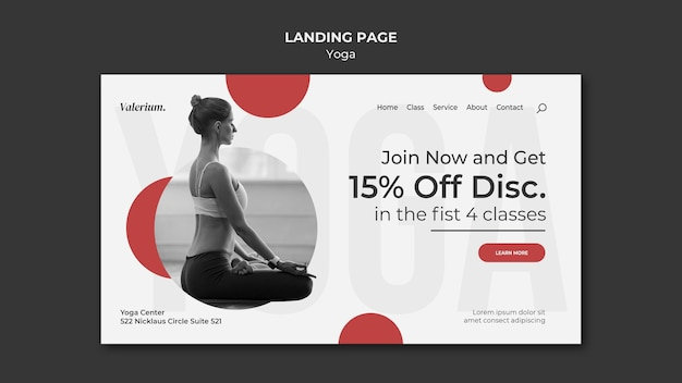 Landing page for yoga class with female instructor