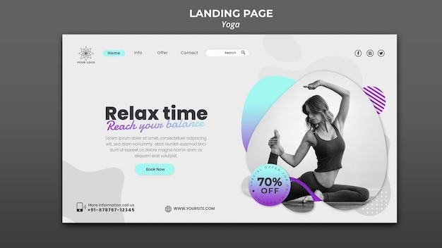 Landing page for yoga lessons