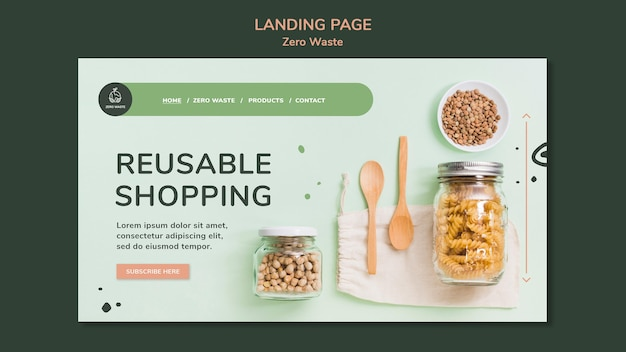 Landing page for zero waste lifestyle