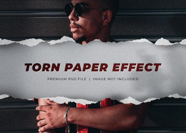 Landscape banner mockup with torn paper effect