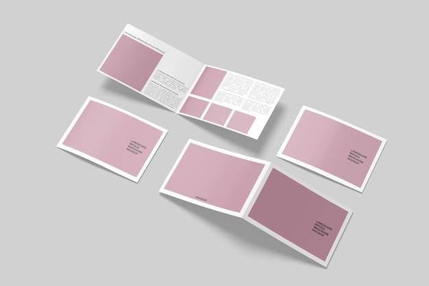 Landscape bifold brochure mockup isolated