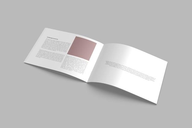 分離された風景パンフレットのモックアップ