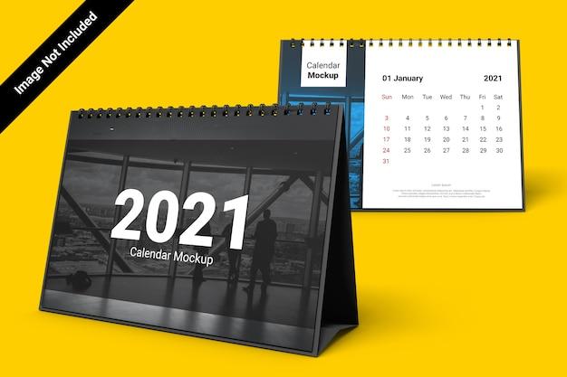 Landscape calendar mockup with spiral bound
