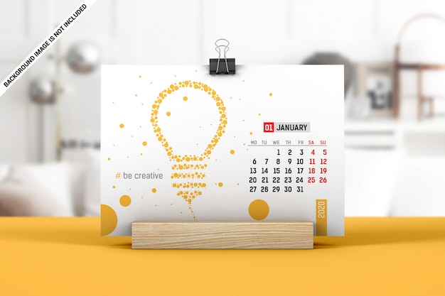 Landscape calendar with clip on wooden stand mockup