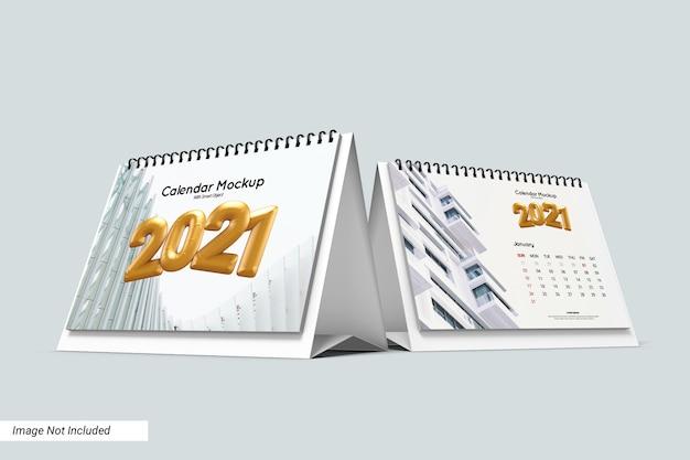 Макет календаря стол пейзаж изолированные
