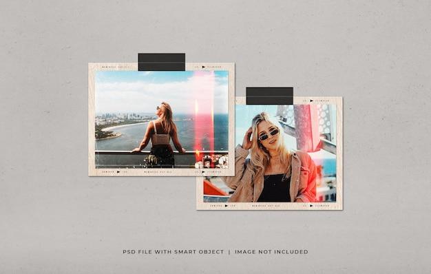 光漏れとほこりの質感を持つ風景フィルムフレーム写真モックアップ