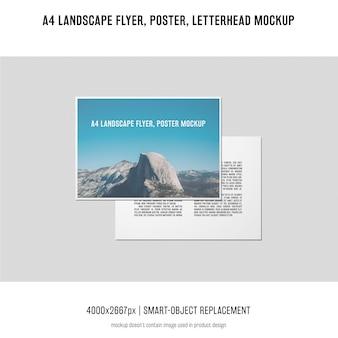 Landscape flyer, poster, letterhead mockup