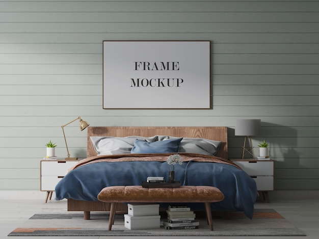 Landscape frame mockup with bed and lamp