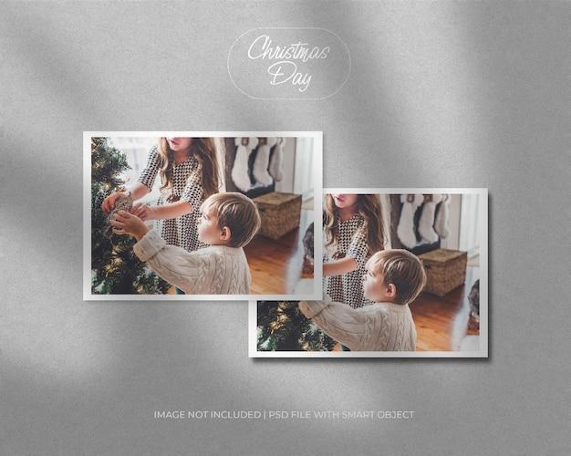 크리스마스와 새해 메리 크리스마스를 위한 풍경 프레임 사진 모형