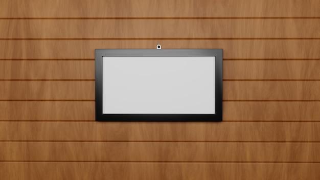 Landscape frame wood background mockup psd files