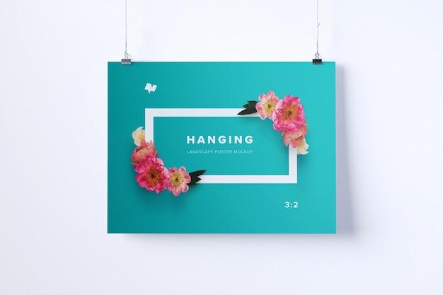 Landscape hanging poster mockup