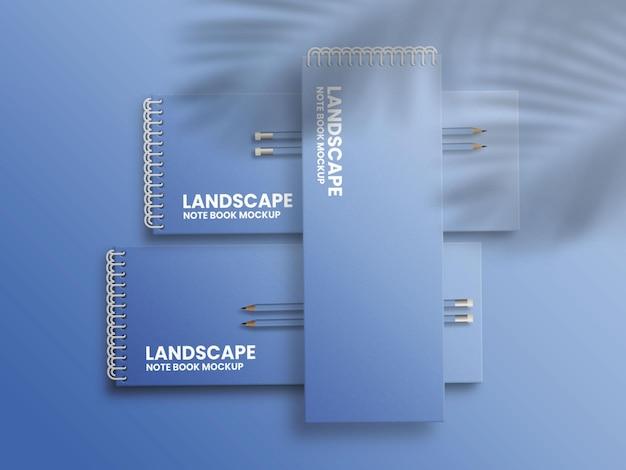 ランドスケープロングノートブックモックアップファイル