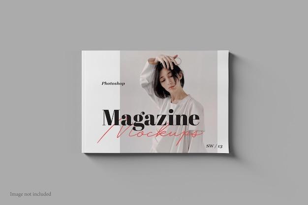 Landscape magazine 및 book mockup top view