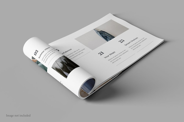 Landscape magazine and book mockup perspective view