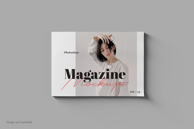 Landscape magazine and book mockup top view