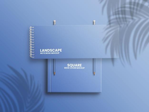 正方形の本の表紙のモックアップの風景ノート