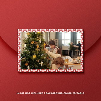 Landscape paper frame mockup for christmas