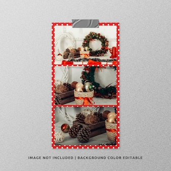Landscape paper frame photo mockup for christmas