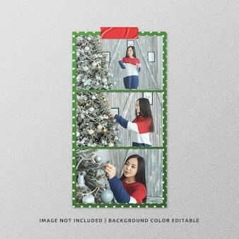 Landscape paper frame photo mockup for christmas