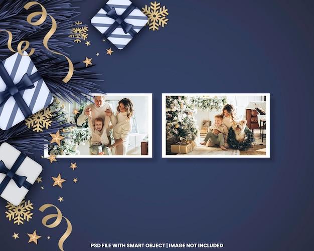 風景フォトフレームポラロイドテンプレートクリスマスと新年のモックアッププレミアムpsd