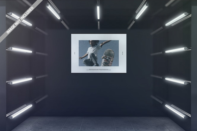 Landscape poster in glowing exhibition room mockup