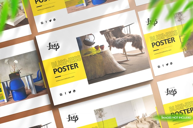 Landscape posters mockup for 3 different templates