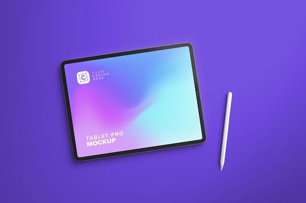 Мокап планшета landscape pro для дизайна uiapp с ручкой