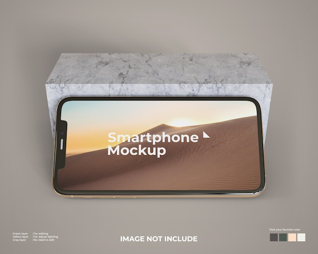 Landscape smartphone mockup with a marble block