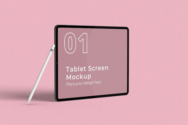 Landscape tablet screen mockup with pencil left view